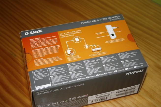 Vista trasera de la caja del D-Link DHP-500AV
