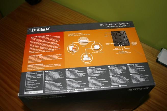 Vista trasera de la caja D-Link DNS-325