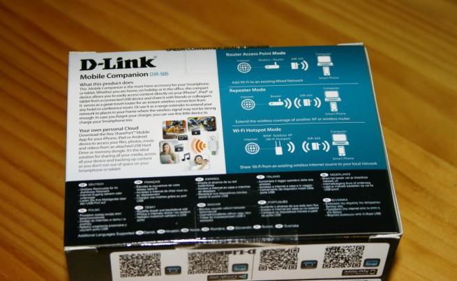 Vista trasera de la caja del D-Link DIR-505