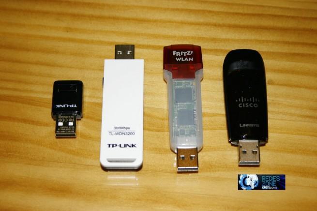 Comparativa de tamaño del Fritz!WLAN Stick USB N con otros
