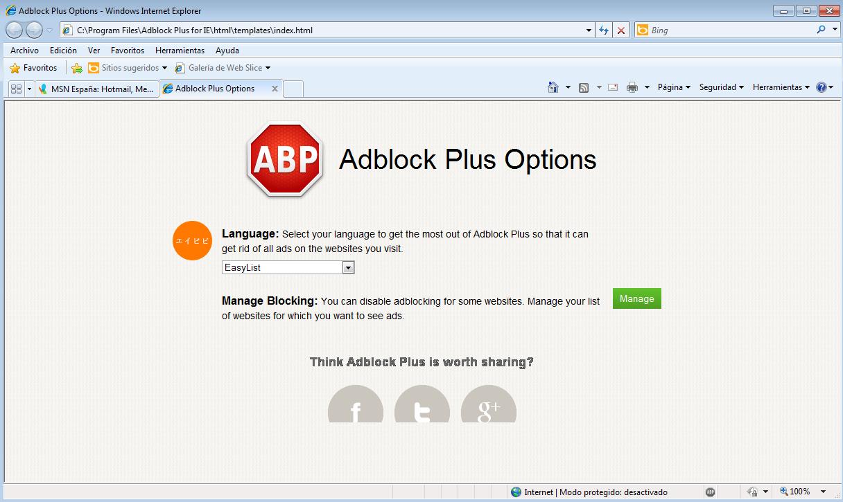 AdBlock Plus llega a Internet Explorer