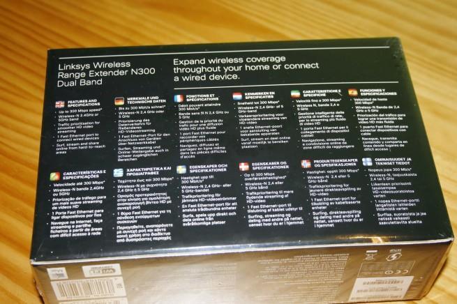 Vista trasera de la caja del AP Cisco Linksys RE2000