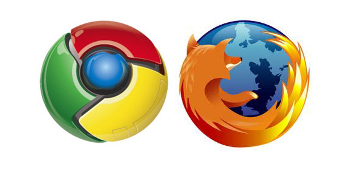 Logotipos Google Chrome y Firefox