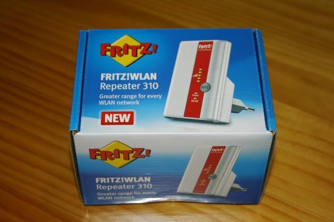 Vista superior de la caja del FRITZ!WLAN Repeater 310
