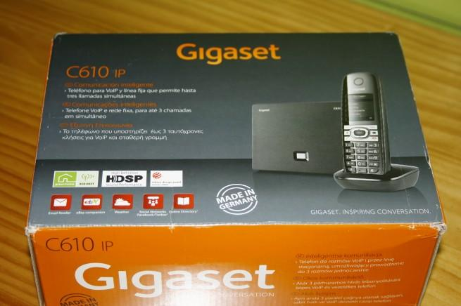 Vista frontal de la caja del Gigaset, el teléfono IP de Oceans Nexus 19