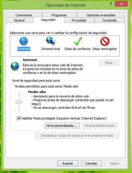 Internet Explorer modo protegido foto