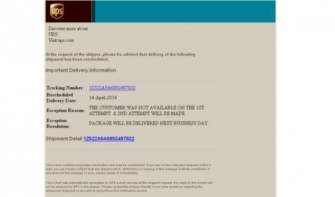 ups correo spam falso