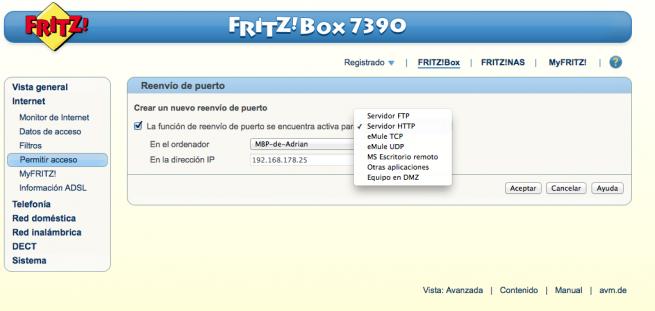 Manual abrir puertos DMZ FRITZ!Box 4