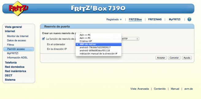 Manual abrir puertos DMZ FRITZ!Box 5