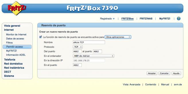 Manual abrir puertos DMZ FRITZ!Box 6
