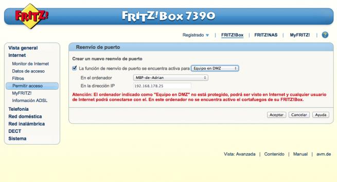 Manual abrir puertos DMZ FRITZ!Box 9