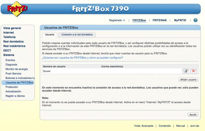 Gestionar usuario router FRITZ! 2