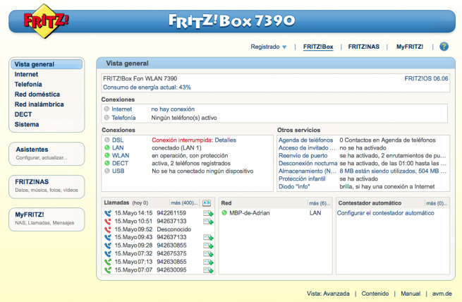 Gestionar usuario router FRITZ!Box 1