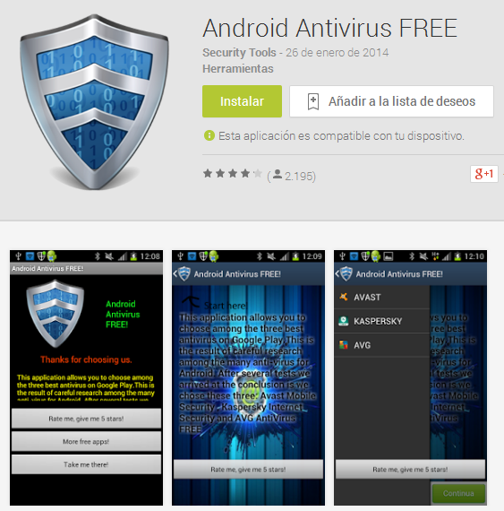 antivirus falso android