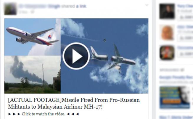 facebook scam vuelo mh17