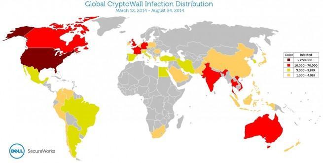 CryptoWall mapa de infección por países