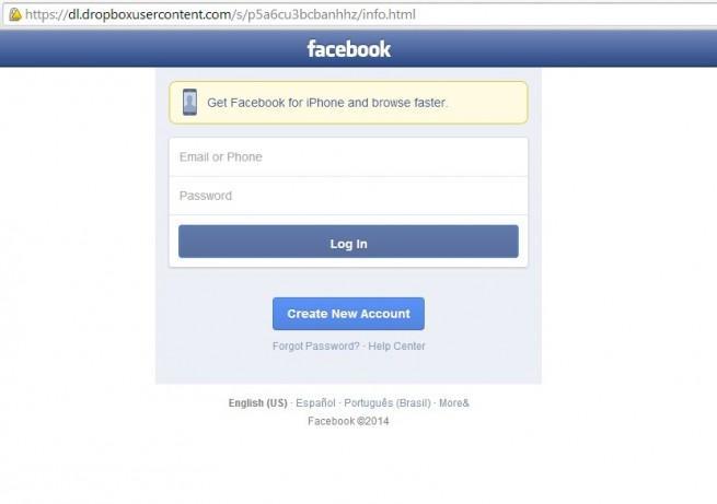 sms phishing facebook robo de contraseñas