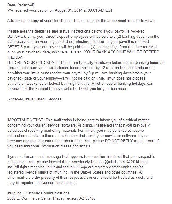 spam intuit distribuir malware