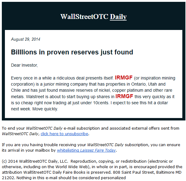 WallStreetOTC Daily spam robo de datos
