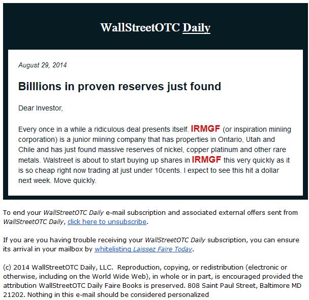 WallStreetOTC Daily spam robo de datos