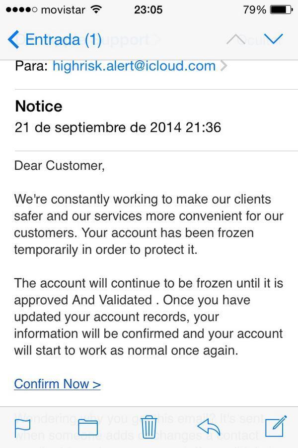 apple spam pidiendo credenciales icloud