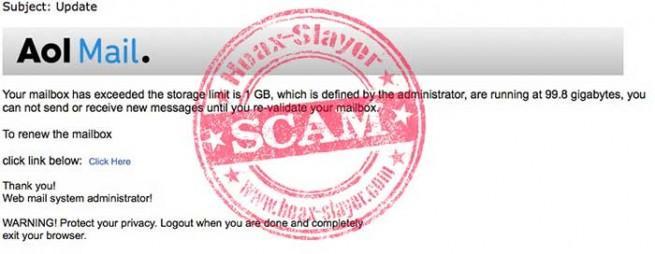 AOL phishing advirtiendo exceso de almacenamiento