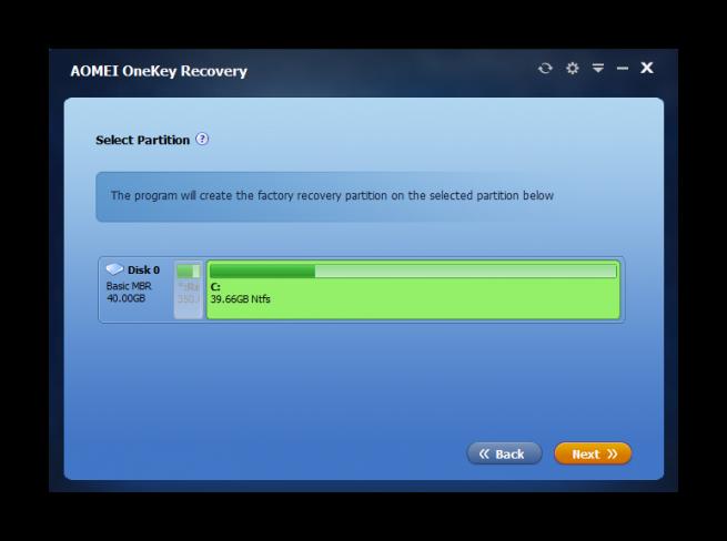 AOMEI OneKey Recovery tutorial foto 3