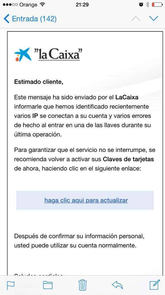 la caixa correo spam conexiones no autorizadas