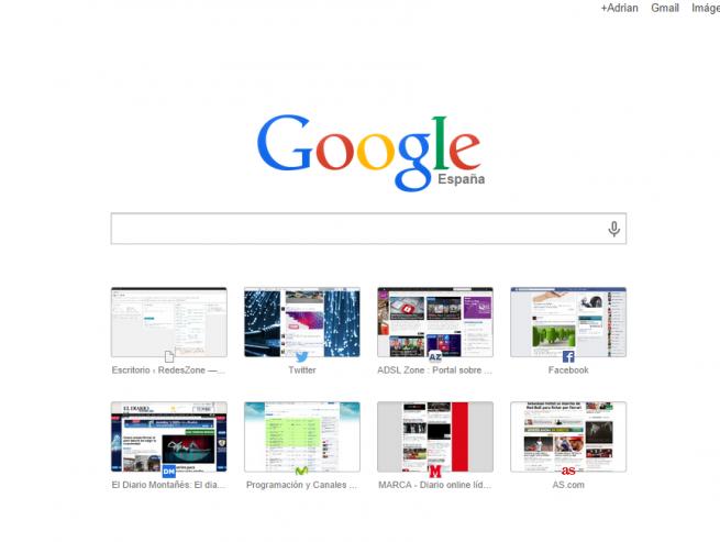 google menú principal navegador