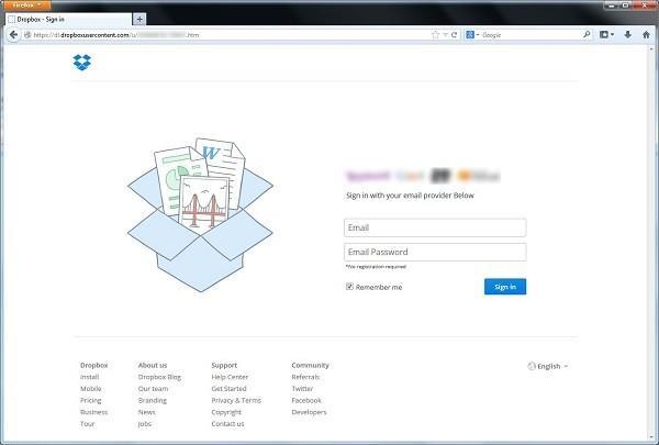pagina web falsa dropbox