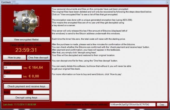 CoinVault malware interfaz propia
