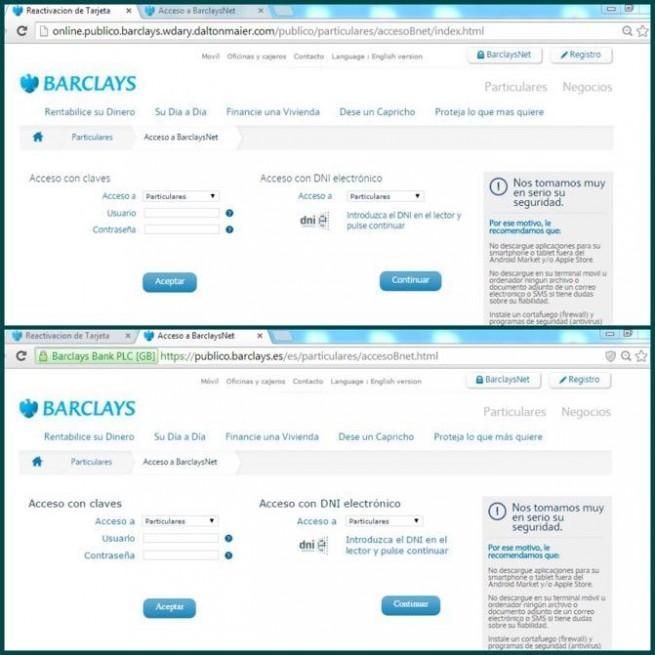 barclays página web falsa