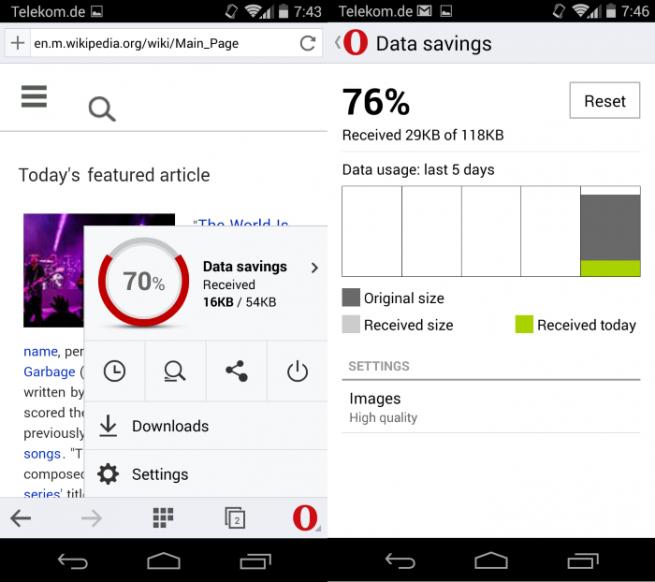 opera mini nueva versión para android