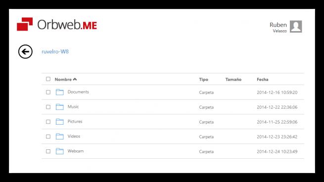 Explorador de archivos remoto de Orbweb