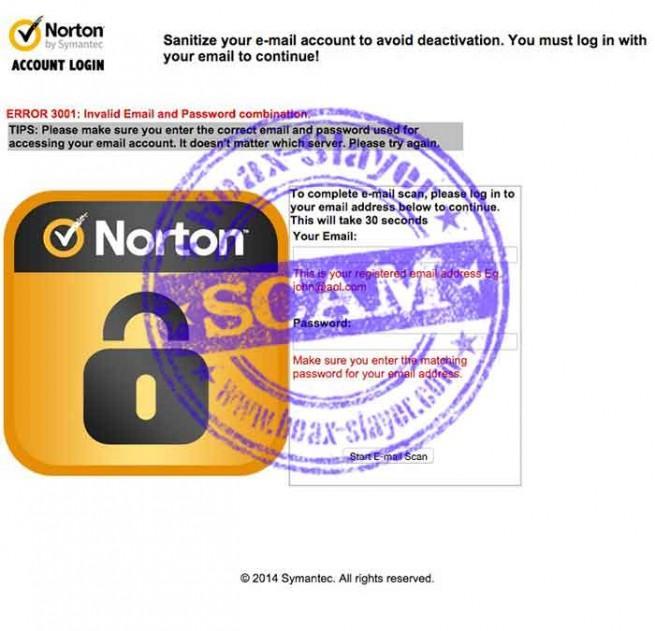 norton spam bloqueo falso de la cuenta de correo