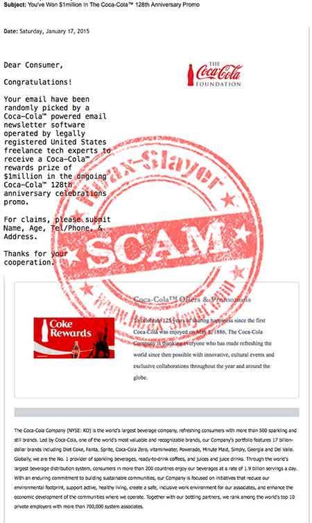 Coca-Cola imagen de una camapaña phishing