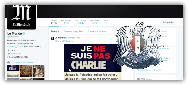 Syrian Electronic Army le monde je suis charlie foto
