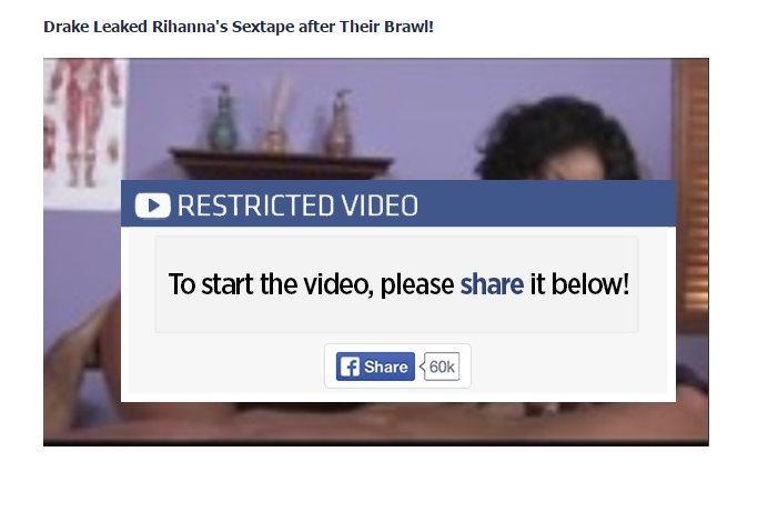 rihanna facebook mensaje scam difundido