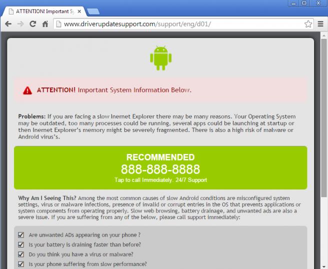 servicio técnico falso android