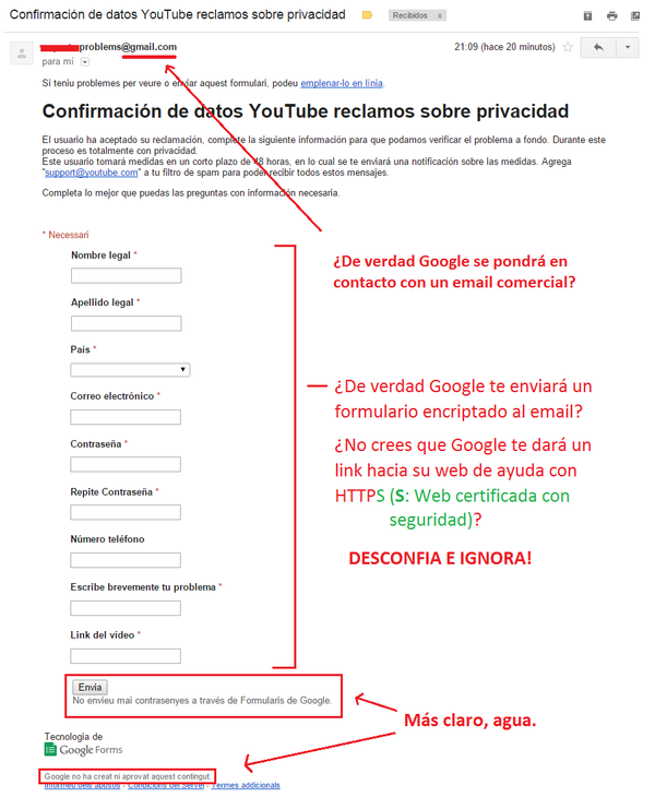 youtube correo phshing