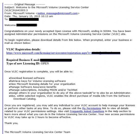 Microsoft Volume Licensing Service malware correo electrónico