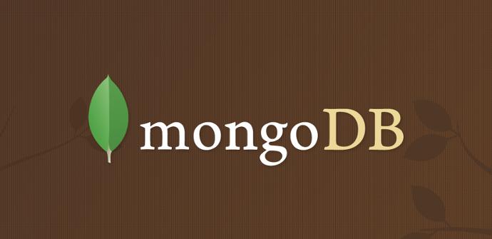 MongoDB sobre fondo marrón