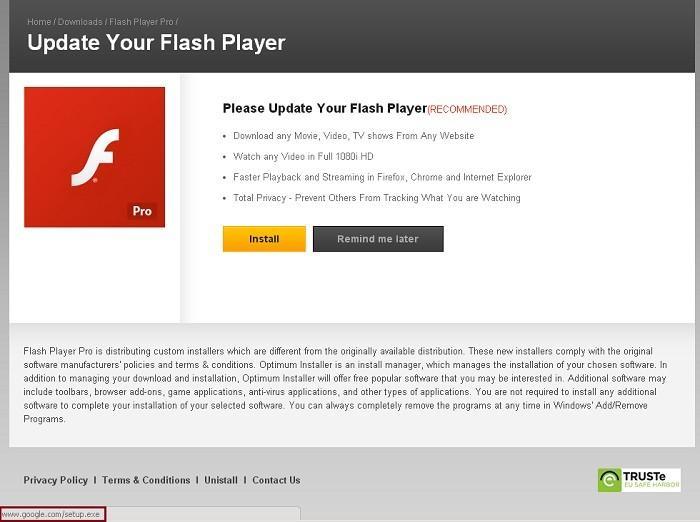 flash player pro distribution virus actualización falsa