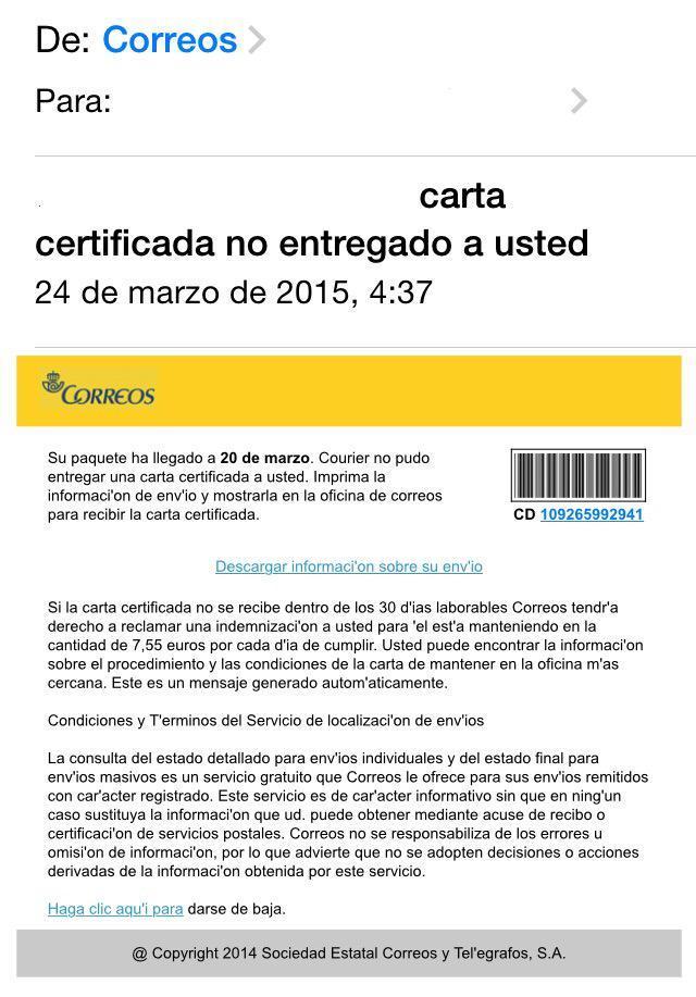 carta certificada falsa correos