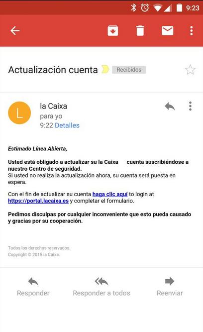 la caixa spam 1