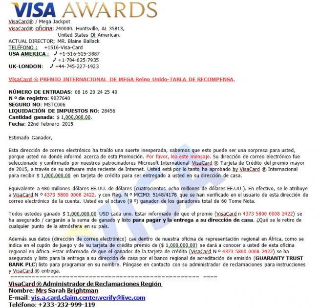 loteria visa correo electronico estafa