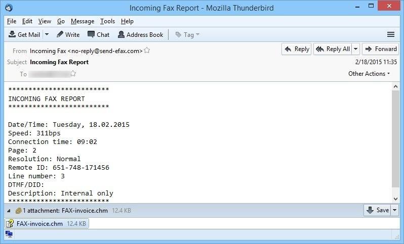mensaje fax falso distribuye cryptowall