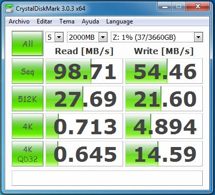 wd mycloud dl2100 raid0 samba con cifrado 2000 MB