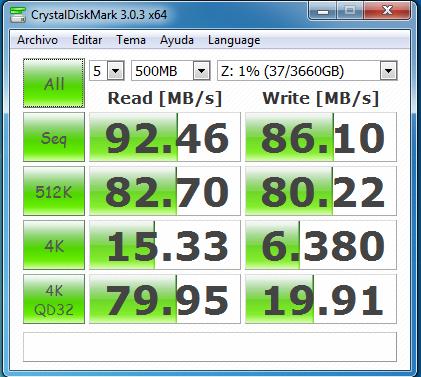 wd mycloud dl2100 raid0 samba con cifrado 500 MB