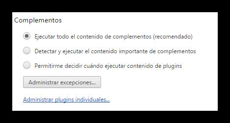 Google Chrome  evitar complementos